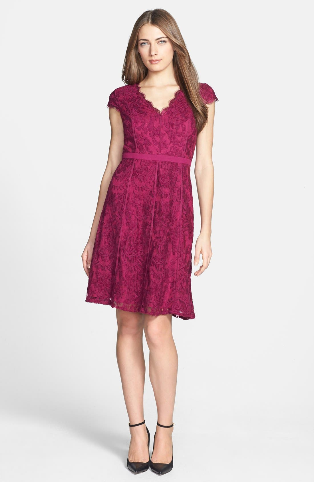 Alternate Image 1 Selected - Adrianna Papell Lace Fit & Flare Dress