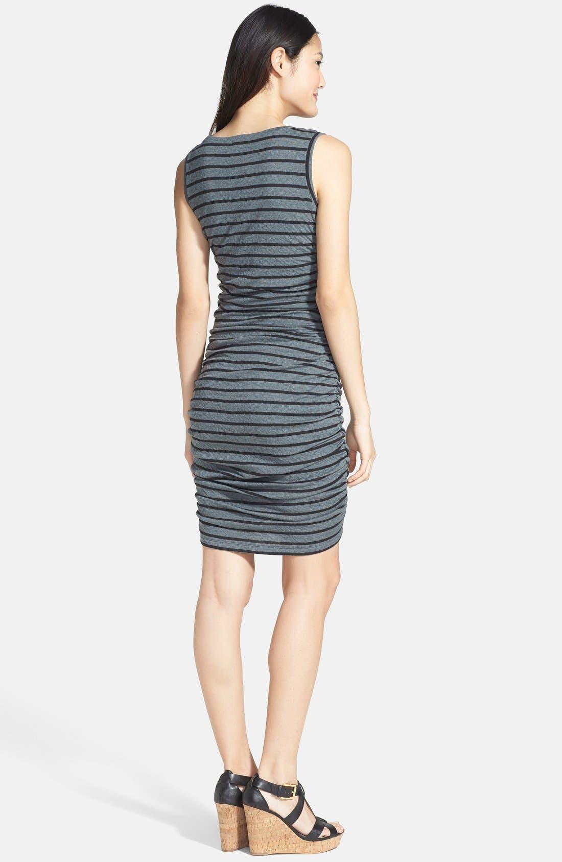 Alternate Image 2  - Halogen® Side Ruched Stripe Jersey Dress (Regular & Petite)