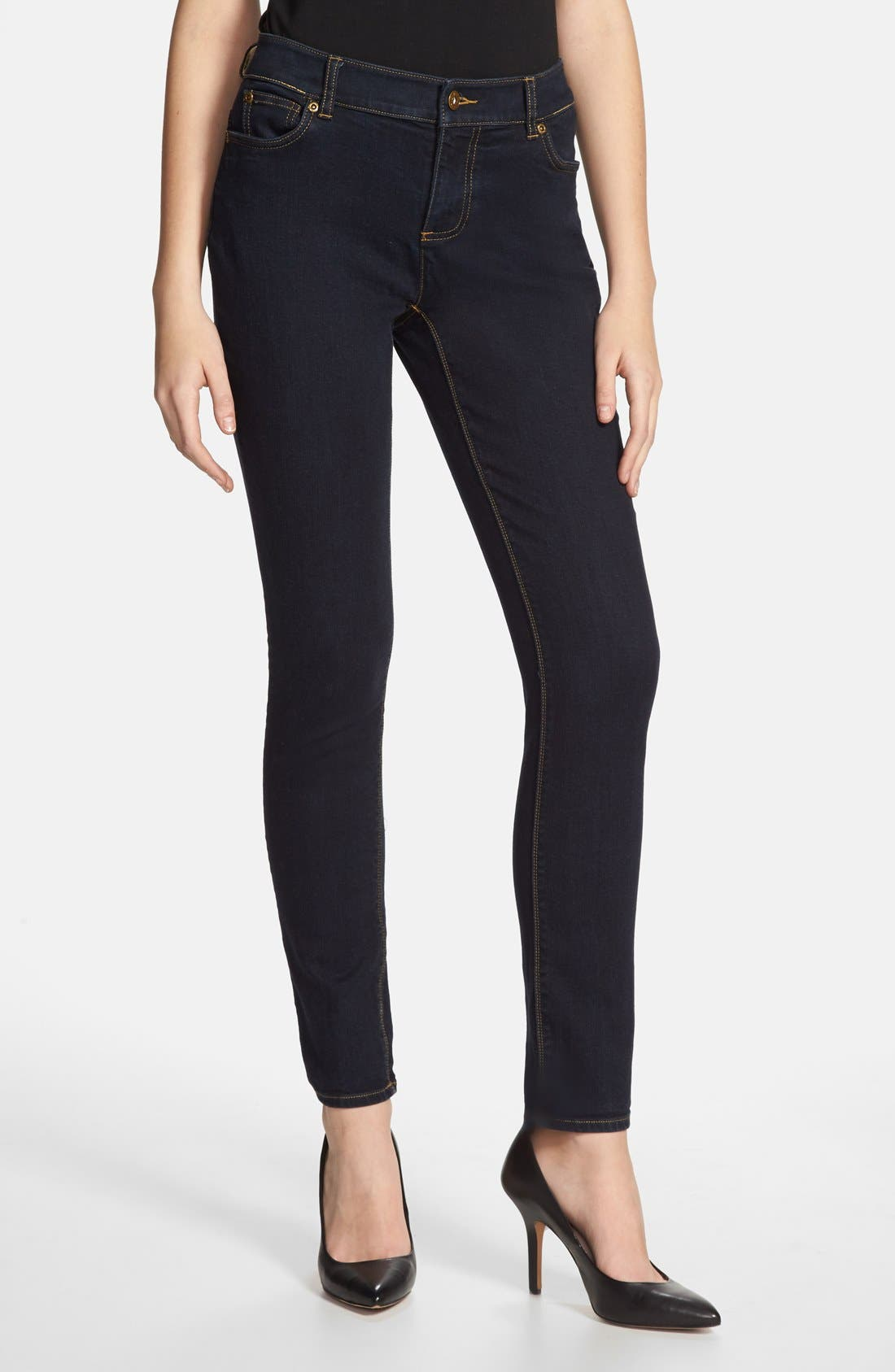 Main Image - Vince Camuto Super Stretch Skinny Jeans (Midnight Dark)