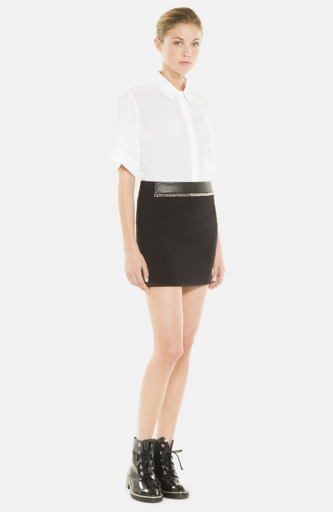 Main Image - sandro 'Joyau' Leather & Chain Detail Skirt