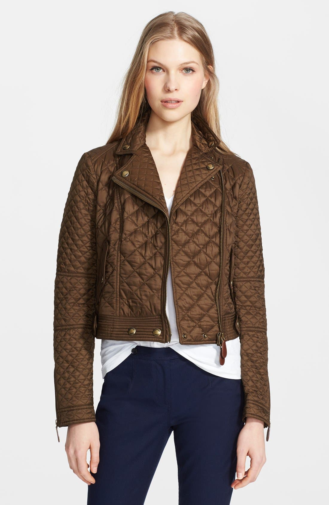 Alternate Image 1 Selected - Burberry Brit 'Oakcliffe' Quilted Moto Jacket