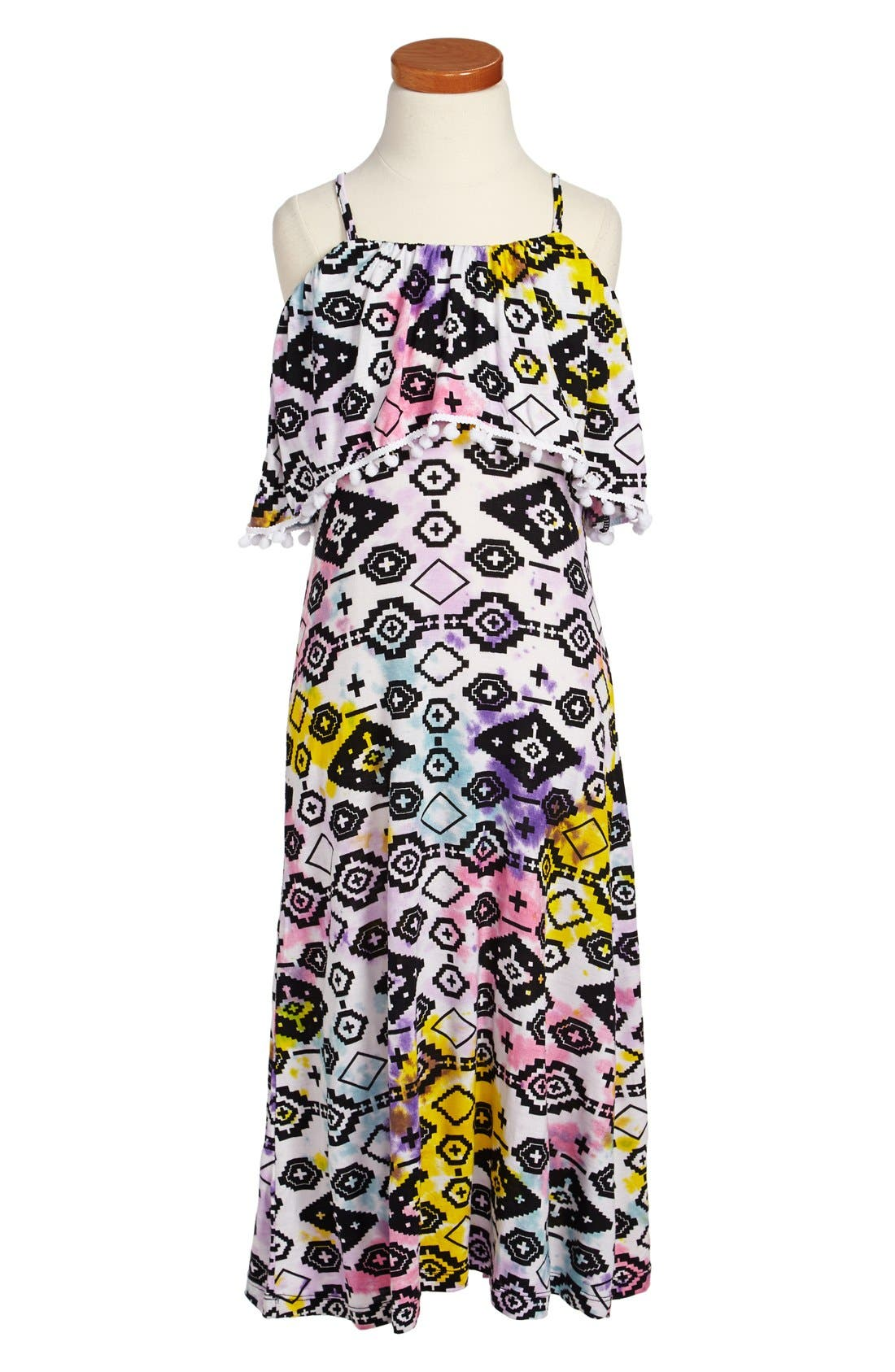 Alternate Image 1 Selected - Flowers by Zoe Tie Dye Maxi Dress (Big Girls)