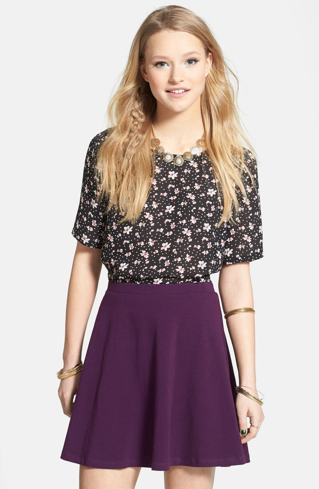 Alternate Image 1 Selected - Lily White Skater Skirt (Juniors)