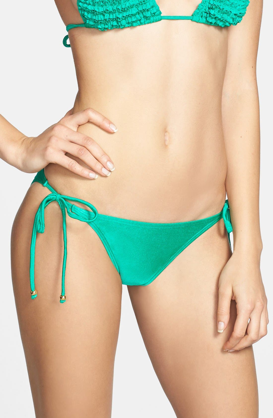 Alternate Image 1 Selected - PilyQ 'Green Jade' Side Tie Bikini Bottoms