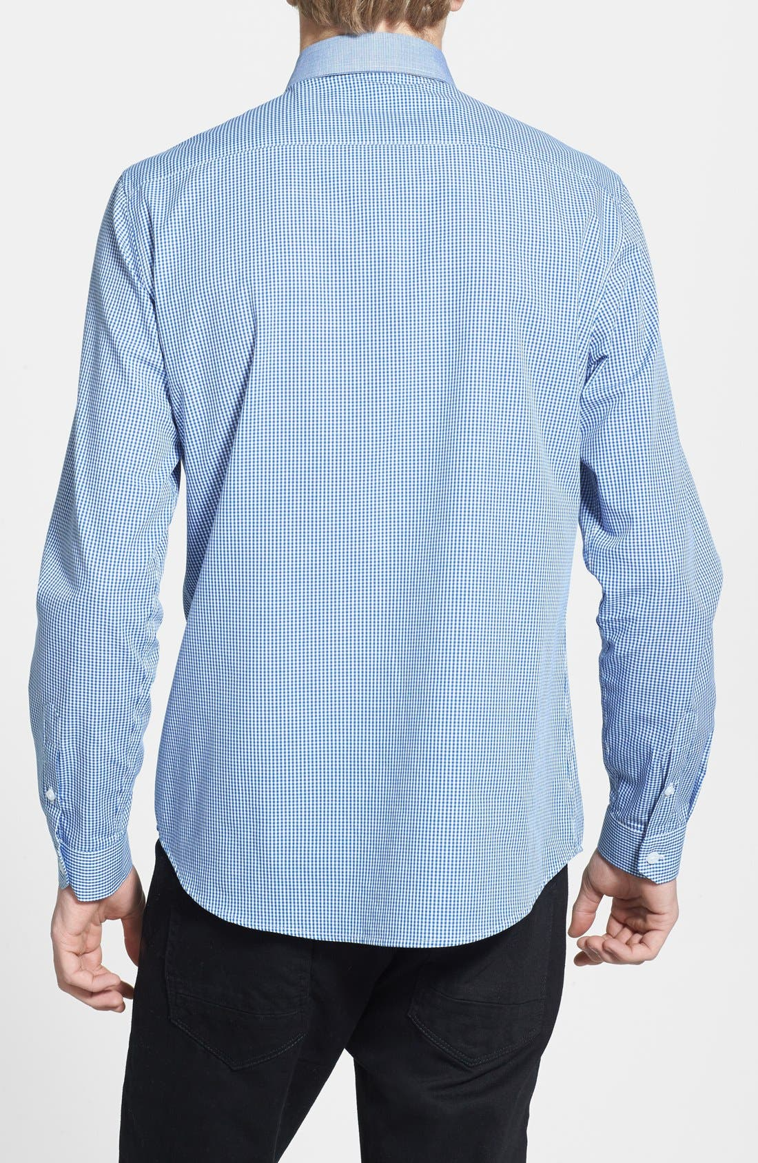 Alternate Image 2  - Topman Slim Fit Chambray Trimmed Gingham Shirt