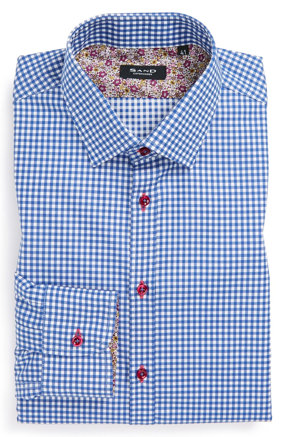 Alternate Image 1 Selected - Sand Extra Trim Fit Check Dress Shirt