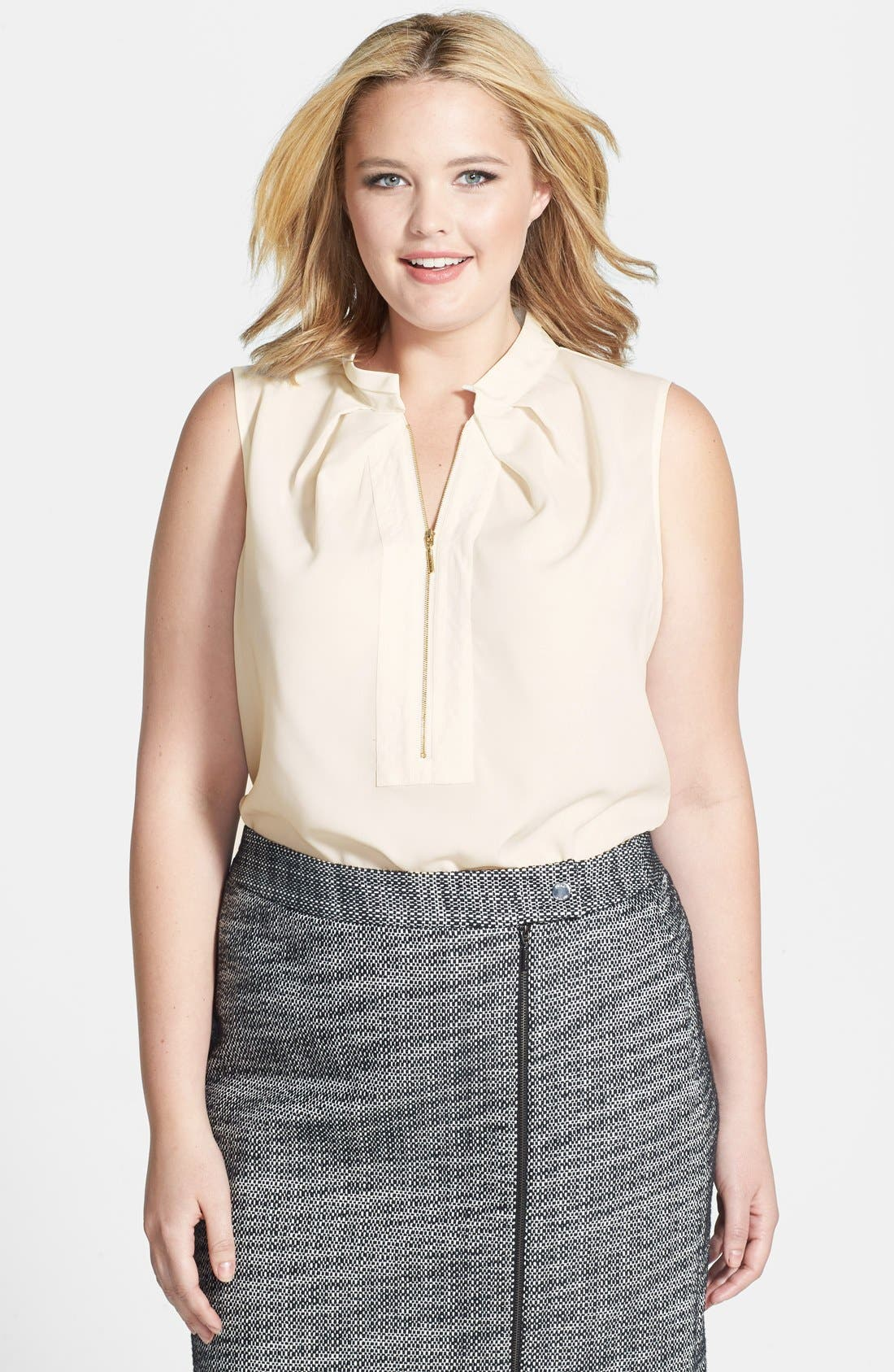 Alternate Image 1 Selected - Anne Klein Zip Placket Shell (Plus Size)