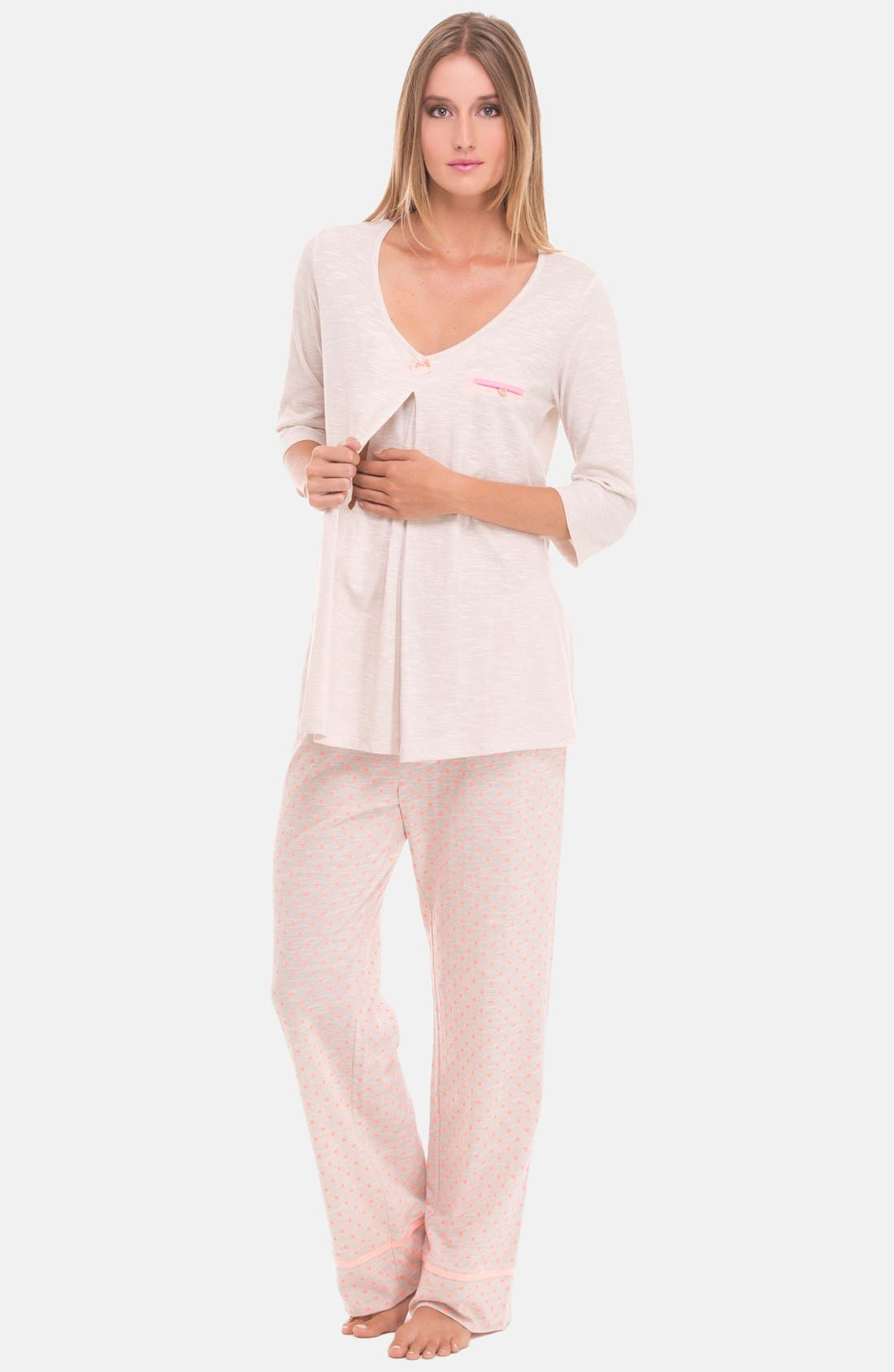 Alternate Image 4  - Olian Three-Piece Maternity Sleepwear Gift Set
