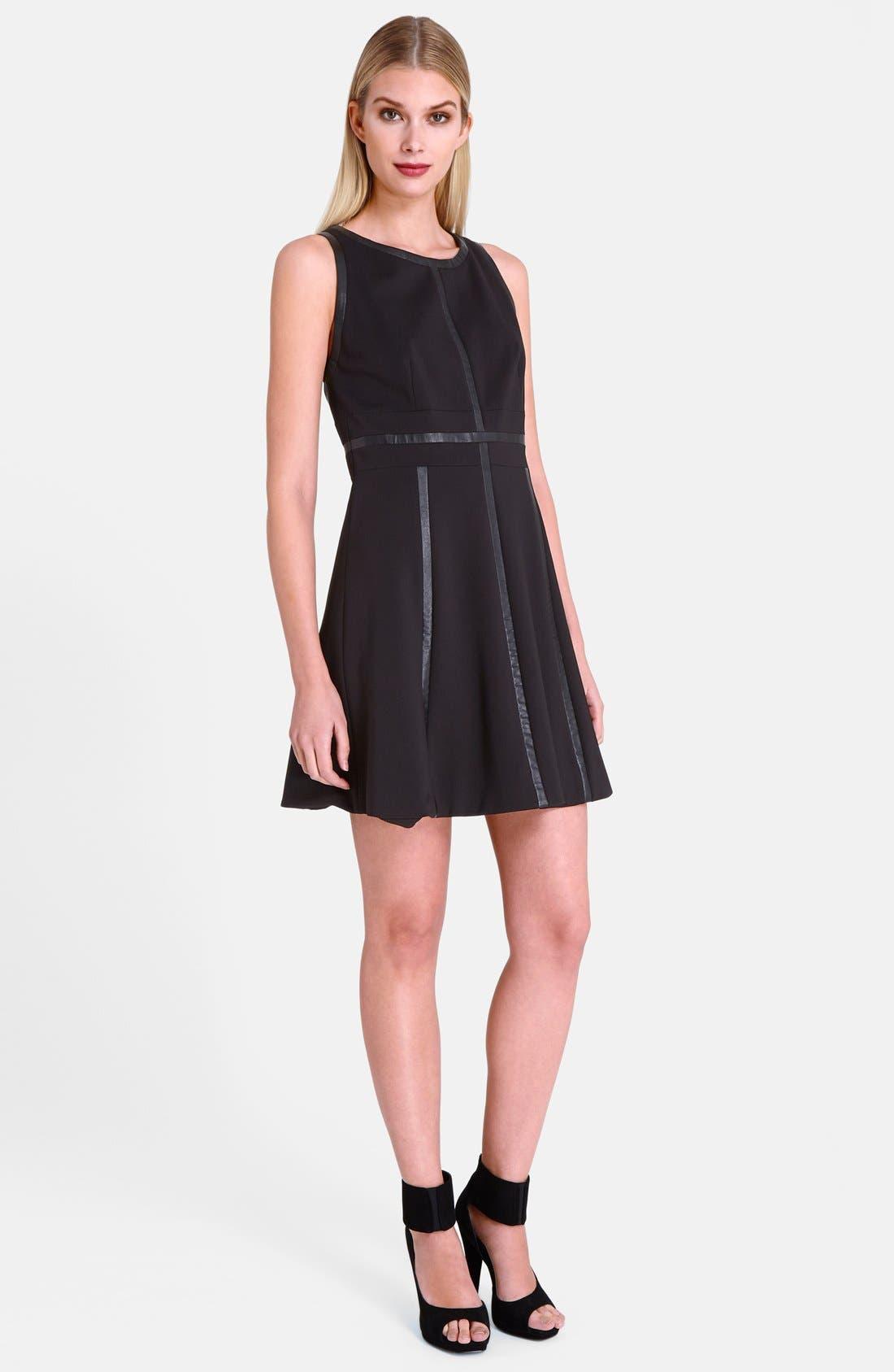 Main Image - Catherine Catherine Malandrino 'Lori' Faux Leather Trim Dress