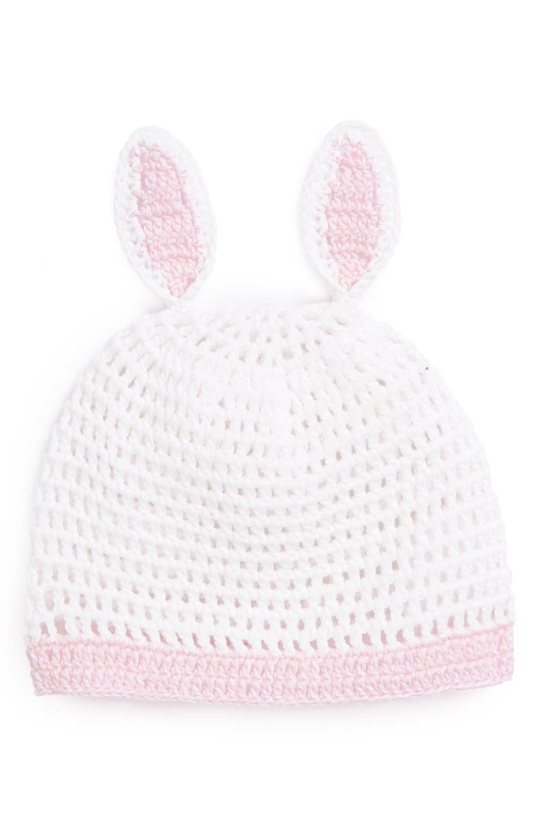 Main Image - Mud Pie 'Bunny' Crochet Hat (Baby Girls)