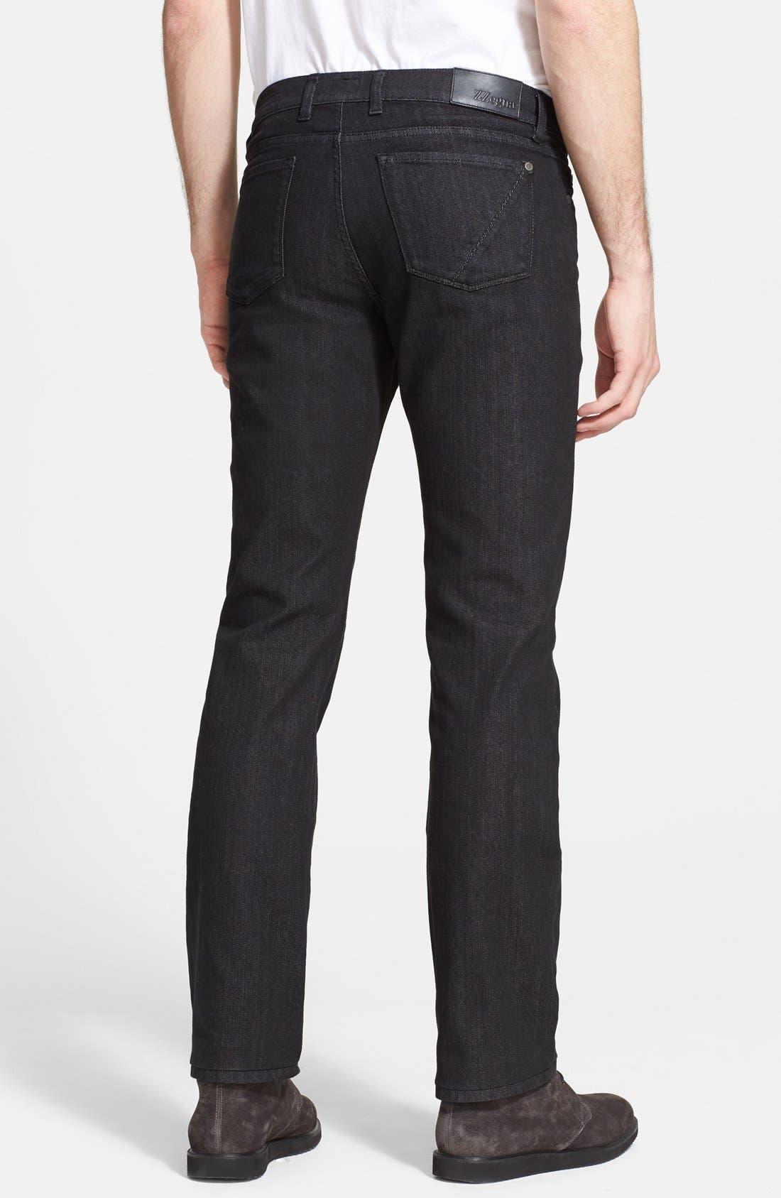 Alternate Image 2  - Z Zegna Slim Straight Leg Jeans (Black Solid)