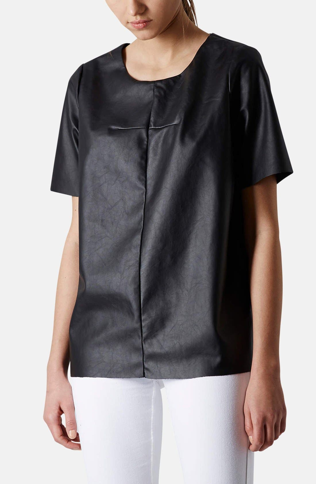 Main Image - Topshop 'Faith' Faux Leather Tee