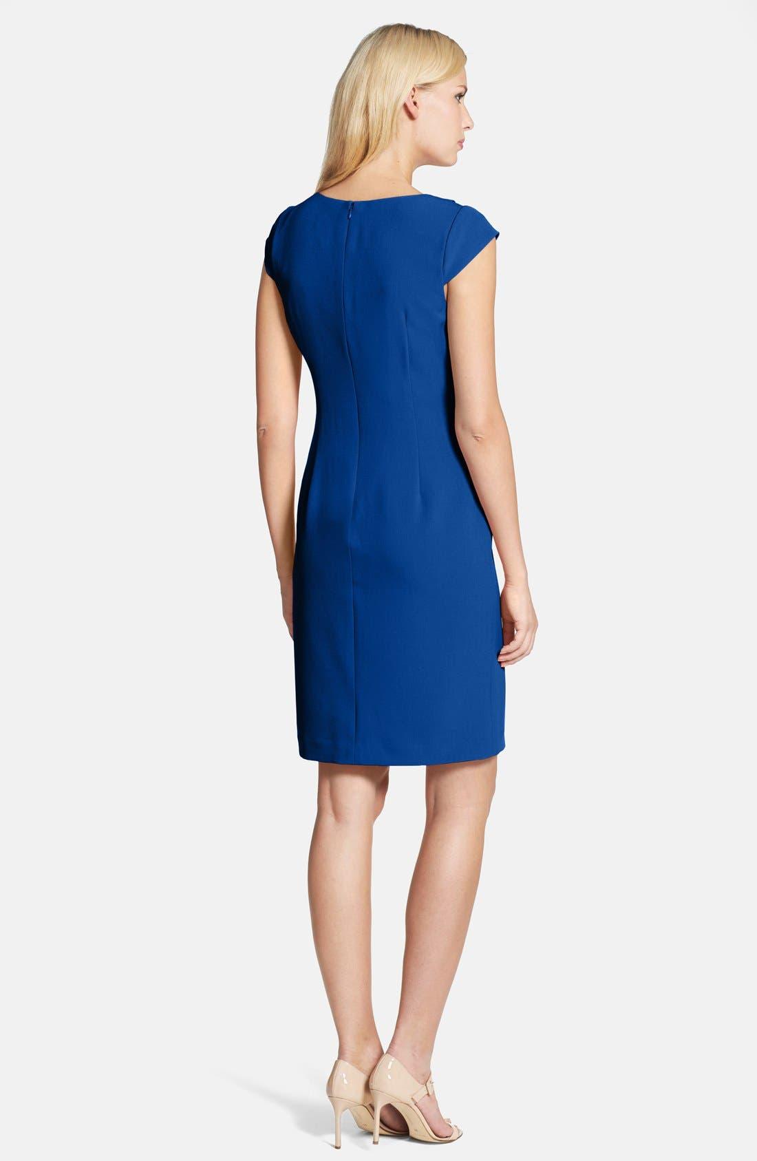 Alternate Image 2  - Adrianna Papell Asymmetric Waist Stretch Crepe Sheath Dress