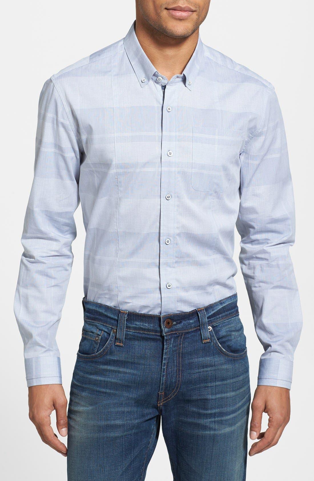 Main Image - 7 Diamonds 'Seven Seas' Trim Fit Tonal Plaid Sport Shirt