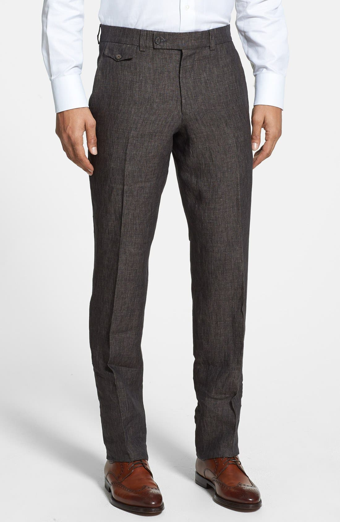 Alternate Image 1 Selected - Ted Baker London 'Columbus' Flat Front Trousers