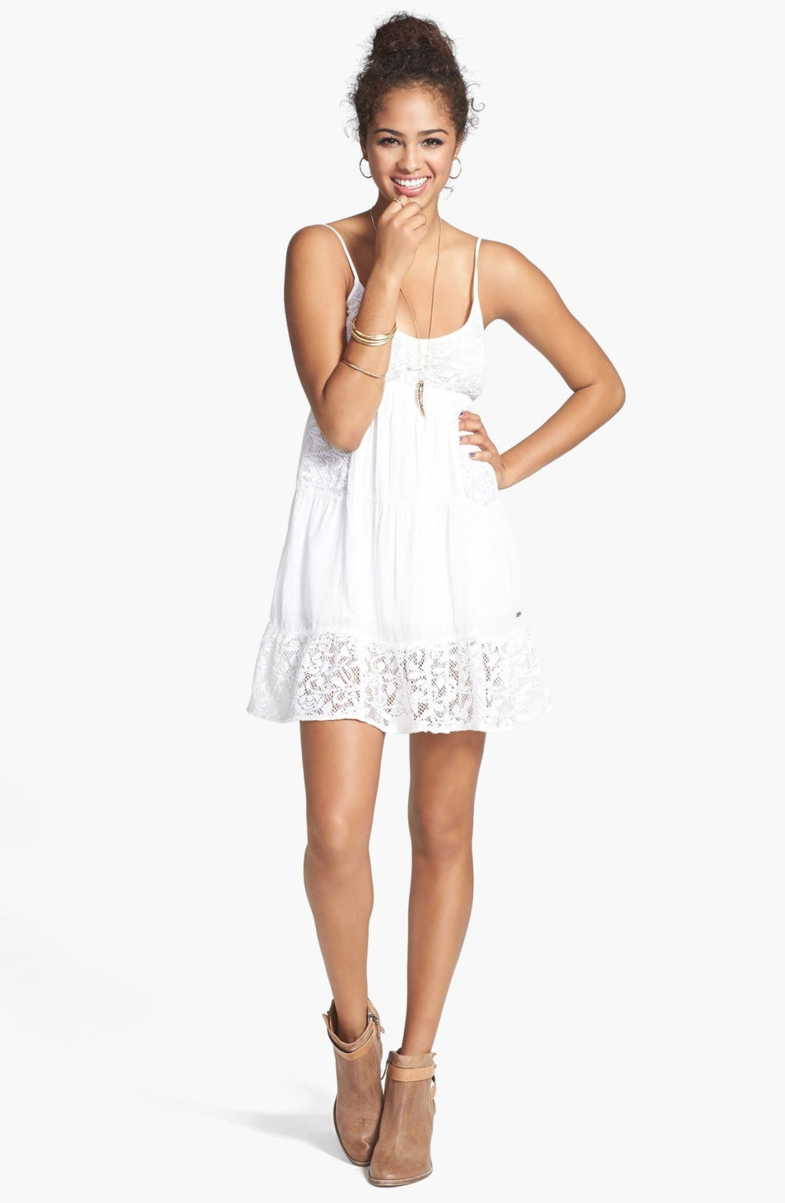 Main Image - Rip Curl 'Dreamweave' Lace Inset Tiered Dress (Juniors)