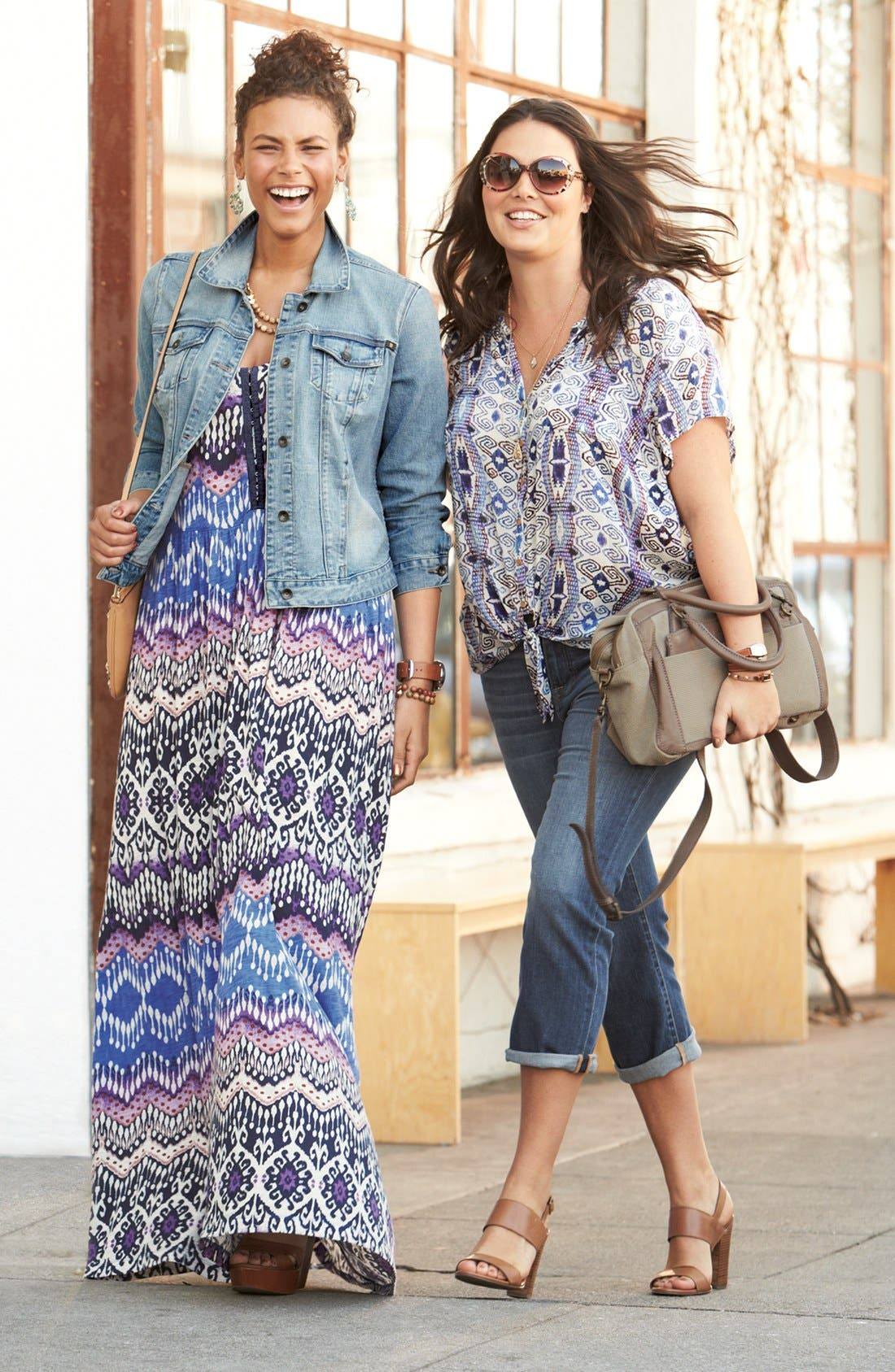 Alternate Image 1 Selected - Lucky Brand Denim Jacket & Maxi Dress
