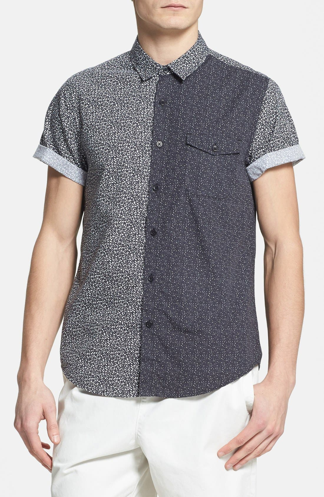 Main Image - Topman Classic Fit Short Sleeve Mixed Panel Shirt