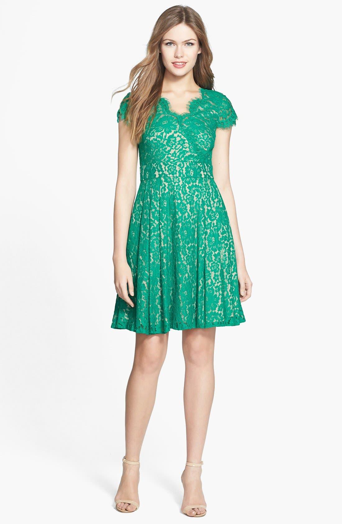 Alternate Image 3  - Eliza J Short Sleeve Lace Fit & Flare Dress