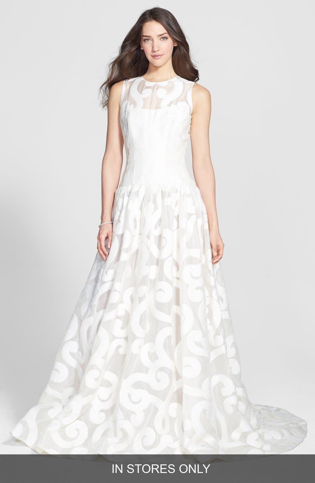 Jesús Peiró 'Duna' Jacquard Organza Drop Waist Dress (In Stores Only)