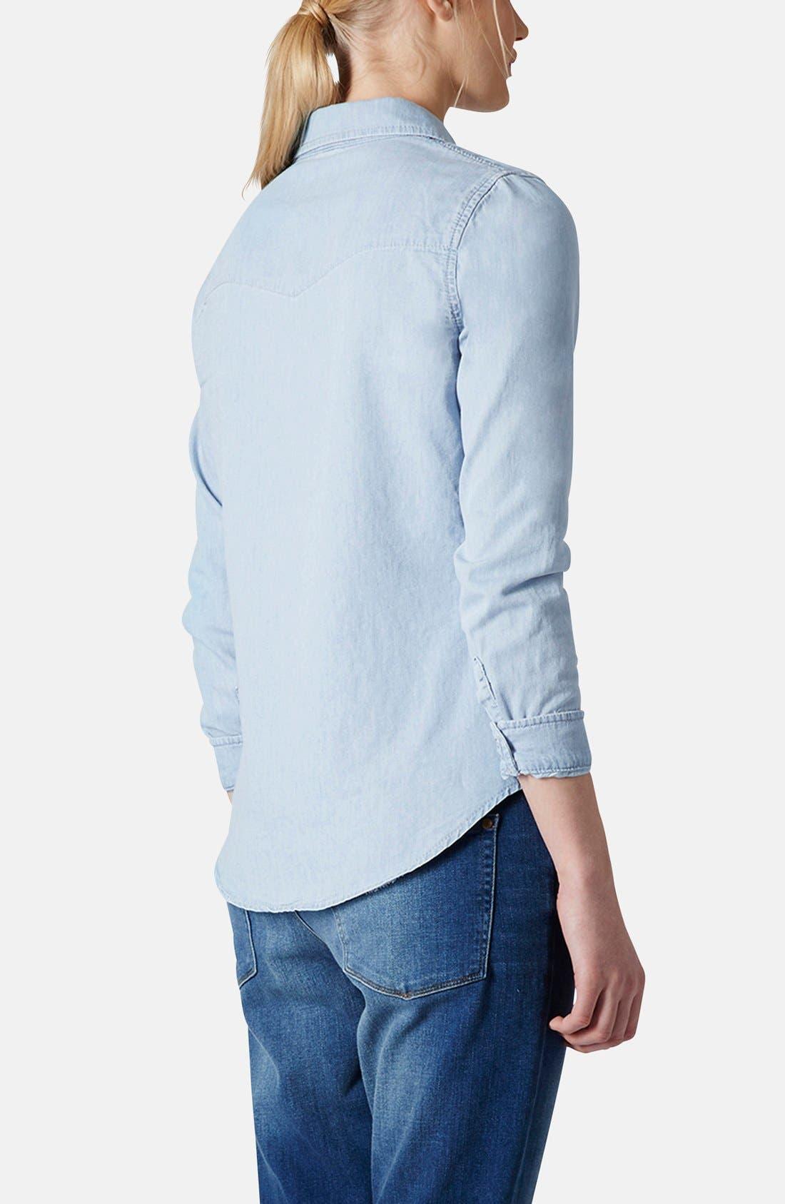 Alternate Image 2  - Topshop Chambray Western Shirt