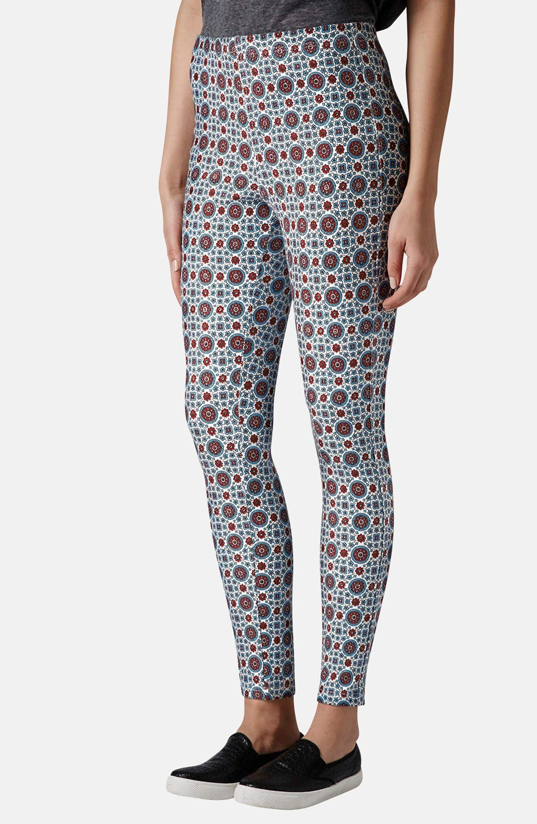 Main Image - Topshop Print Denim Leggings