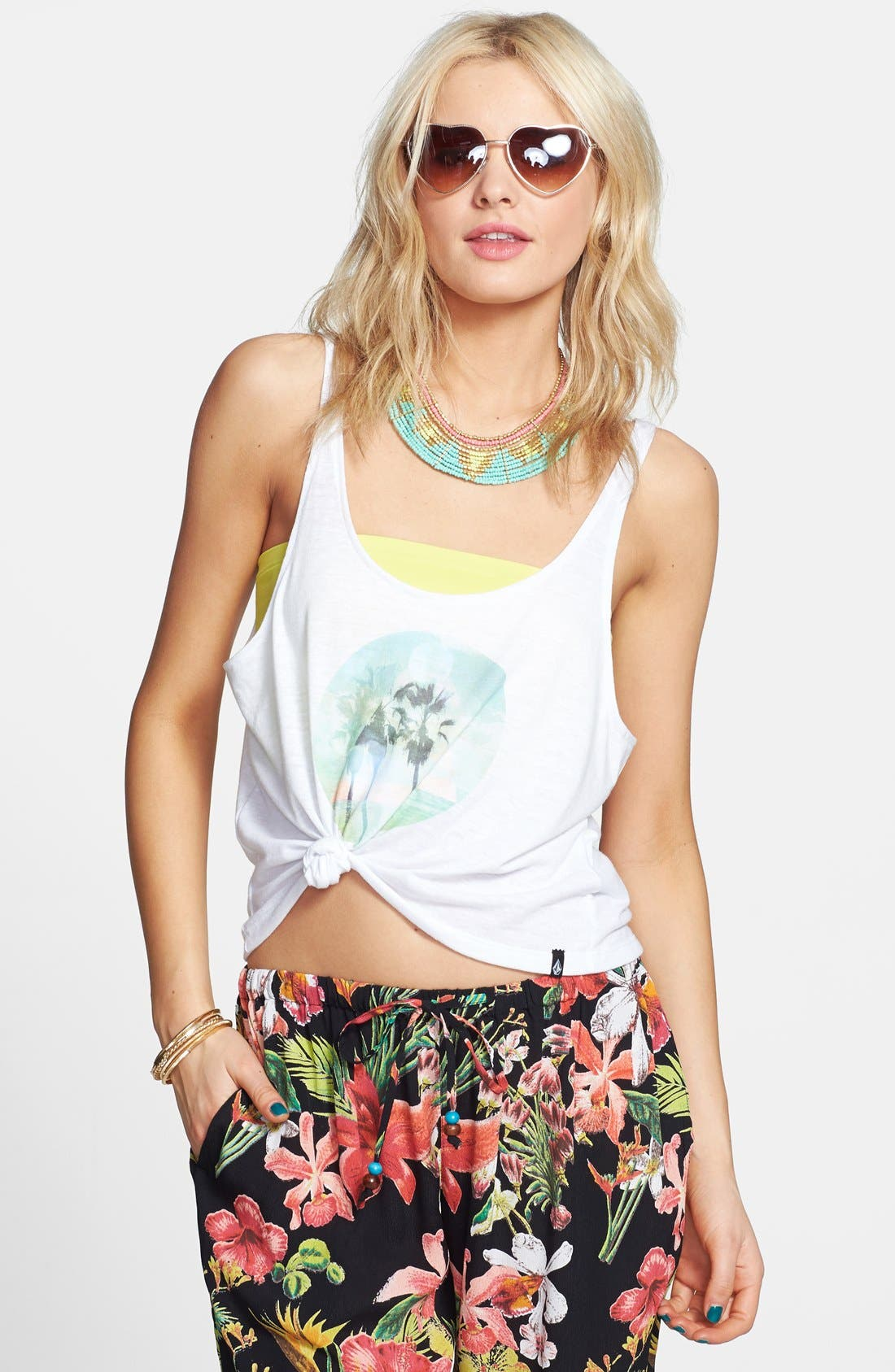 Alternate Image 1 Selected - Volcom 'Live a Little' Graphic Crop Tank (Juniors)