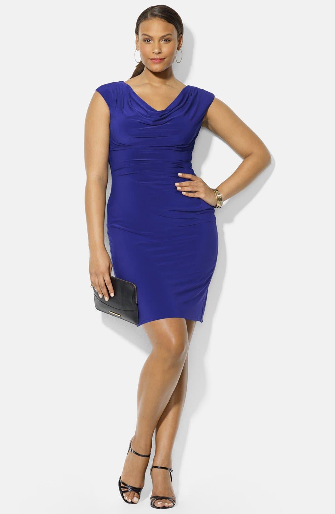 Main Image - Lauren Ralph Lauren Cowl Neck Jersey Dress (Plus Size)