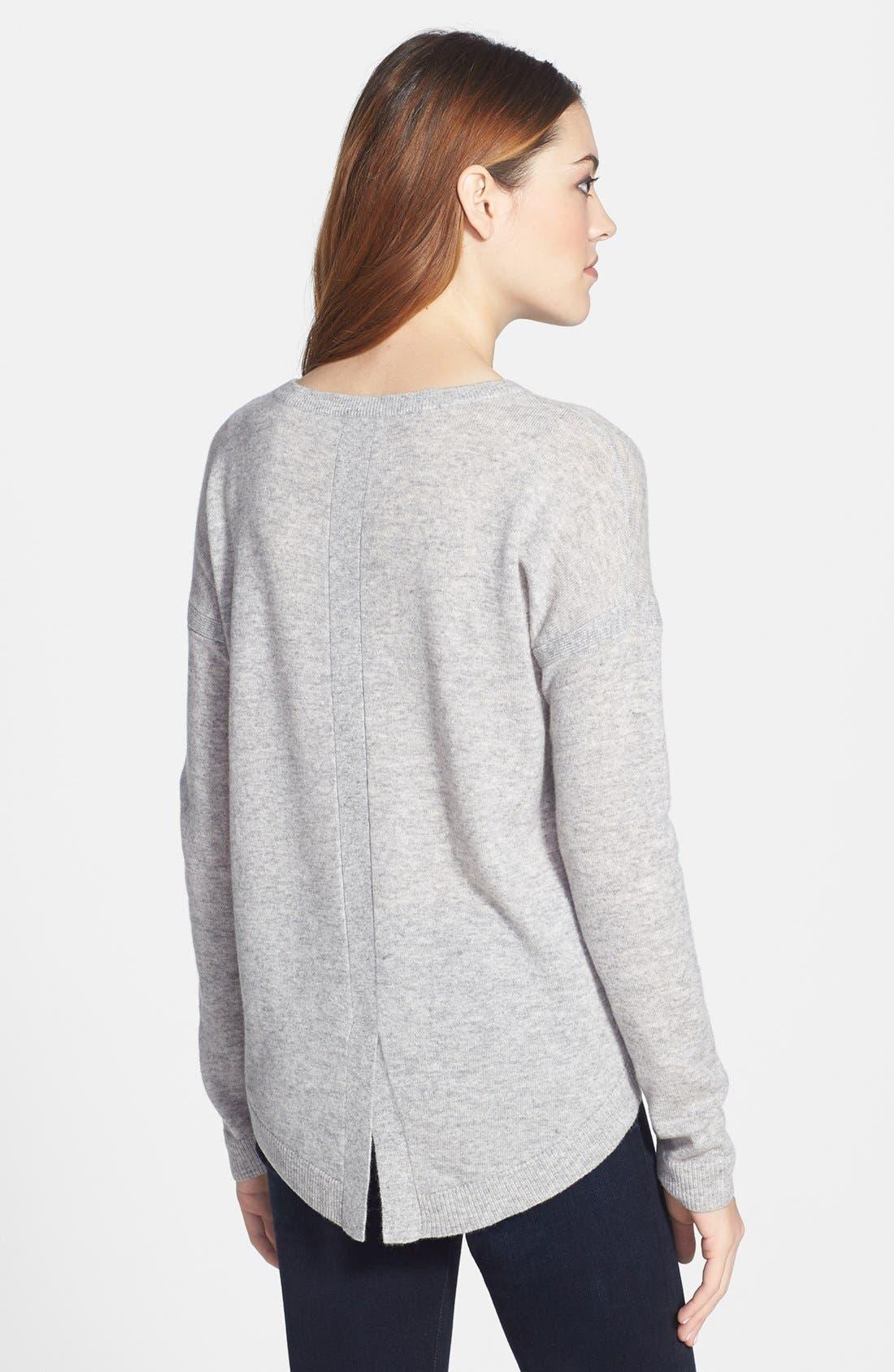 Alternate Image 2  - Halogen® Lightweight Cashmere Crewneck Sweater with Pocket (Petite)
