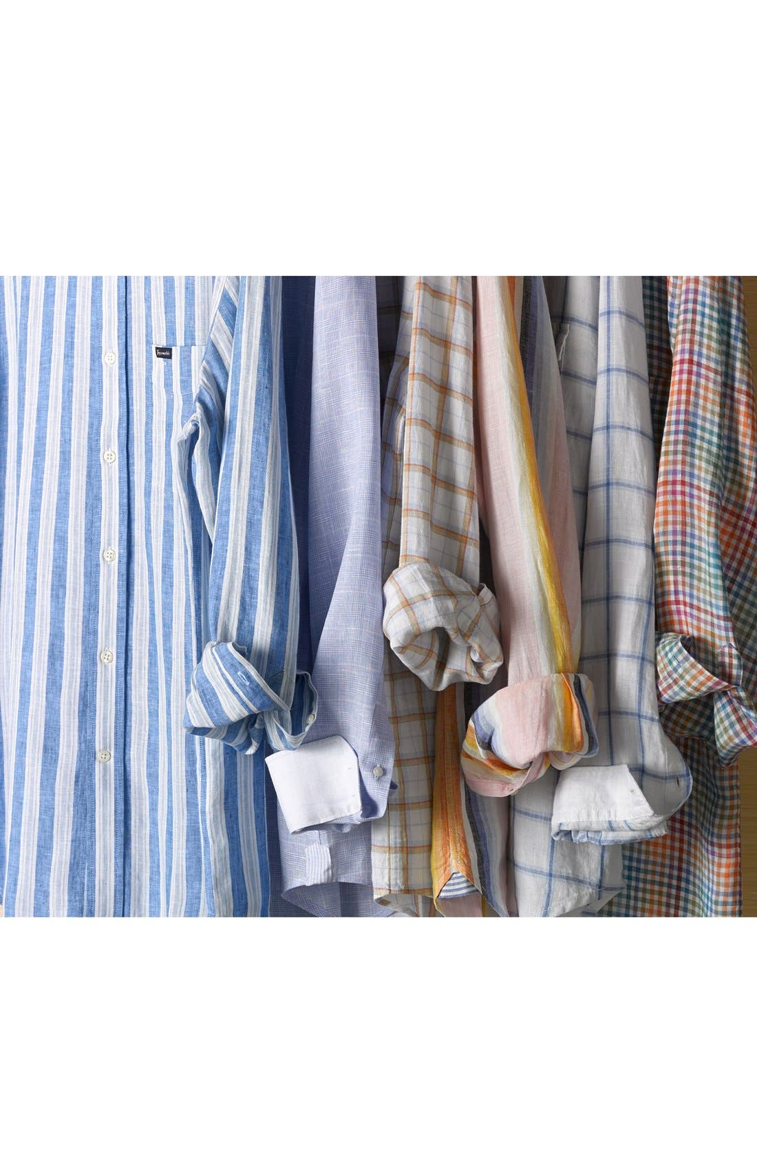 Alternate Image 4  - Kent and Curwen Trim Fit Prince of Wales Linen Sport Shirt