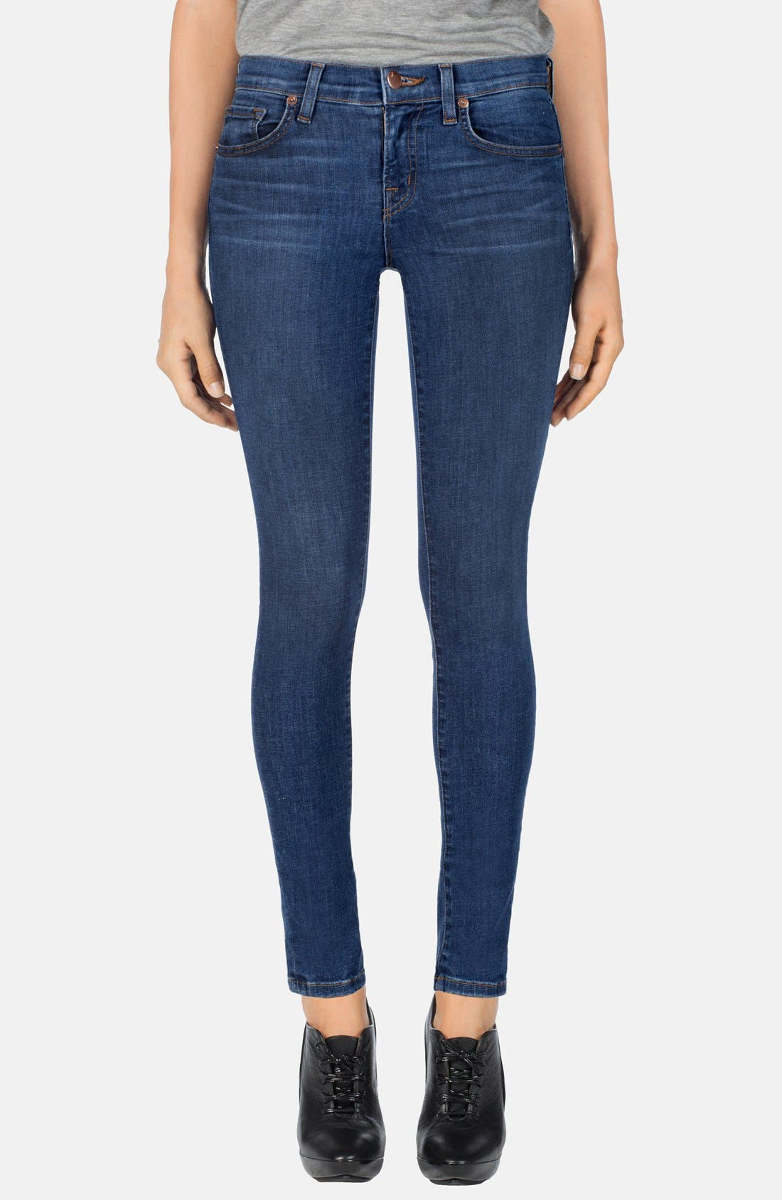 Main Image - J Brand Mid Rise Skinny Jeans (Pacifica)