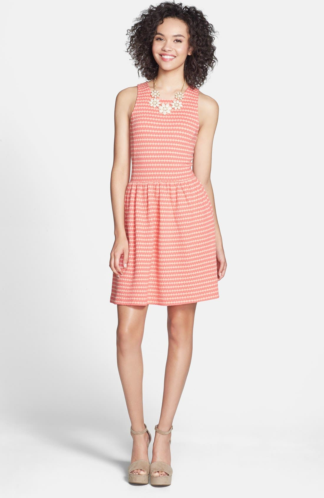 Alternate Image 1 Selected - Frenchi® Knit Racerback Skater Dress (Juniors)