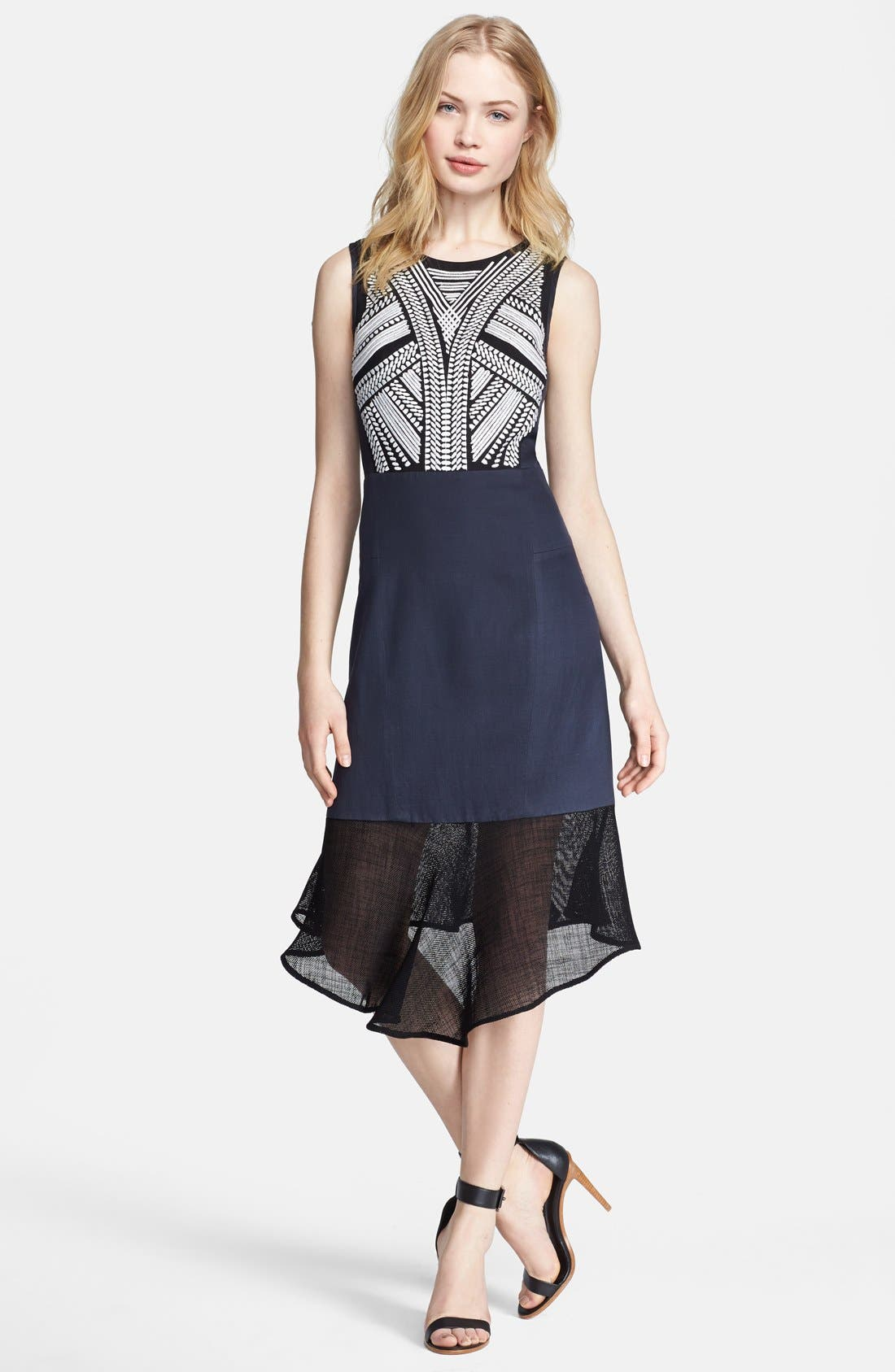 Main Image - Tibi 'Fog' Embroidered A-Line Dress