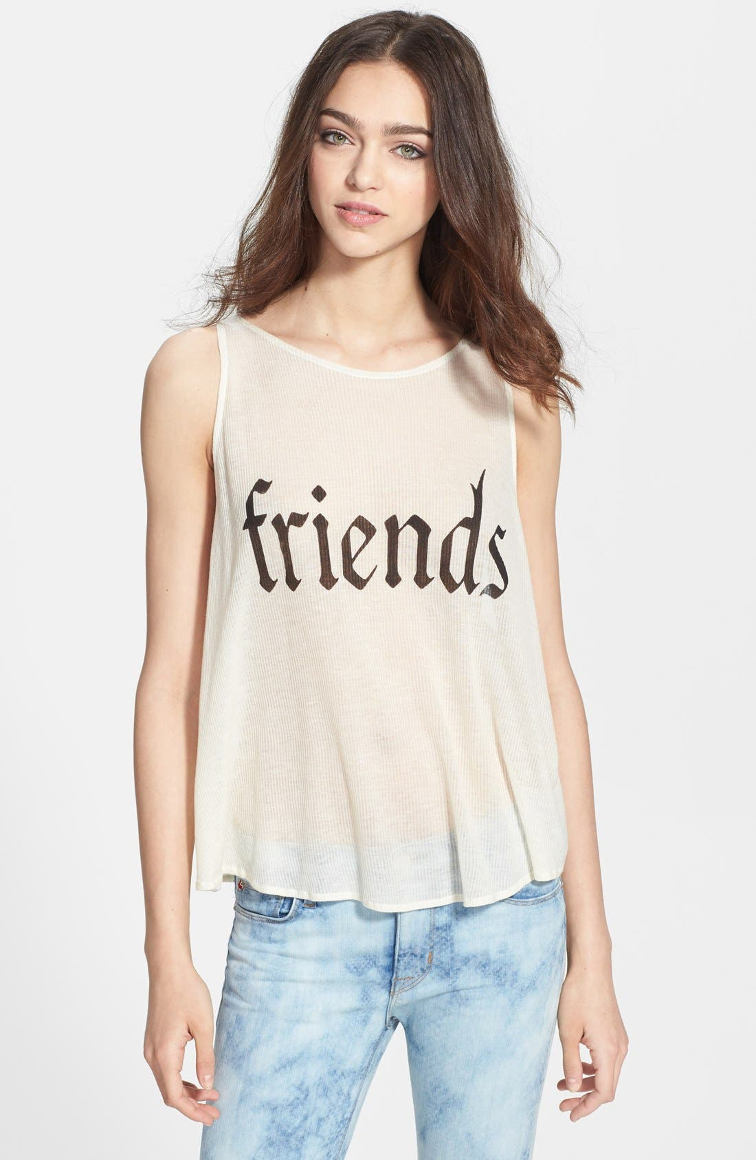 Main Image - Wildfox 'Friends' Sheer Ribbed Tank