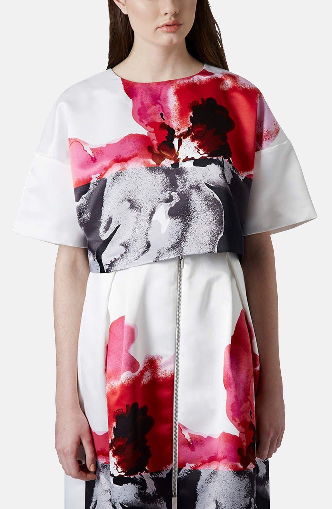 Alternate Image 1 Selected - Topshop Floral Print Crop Tee