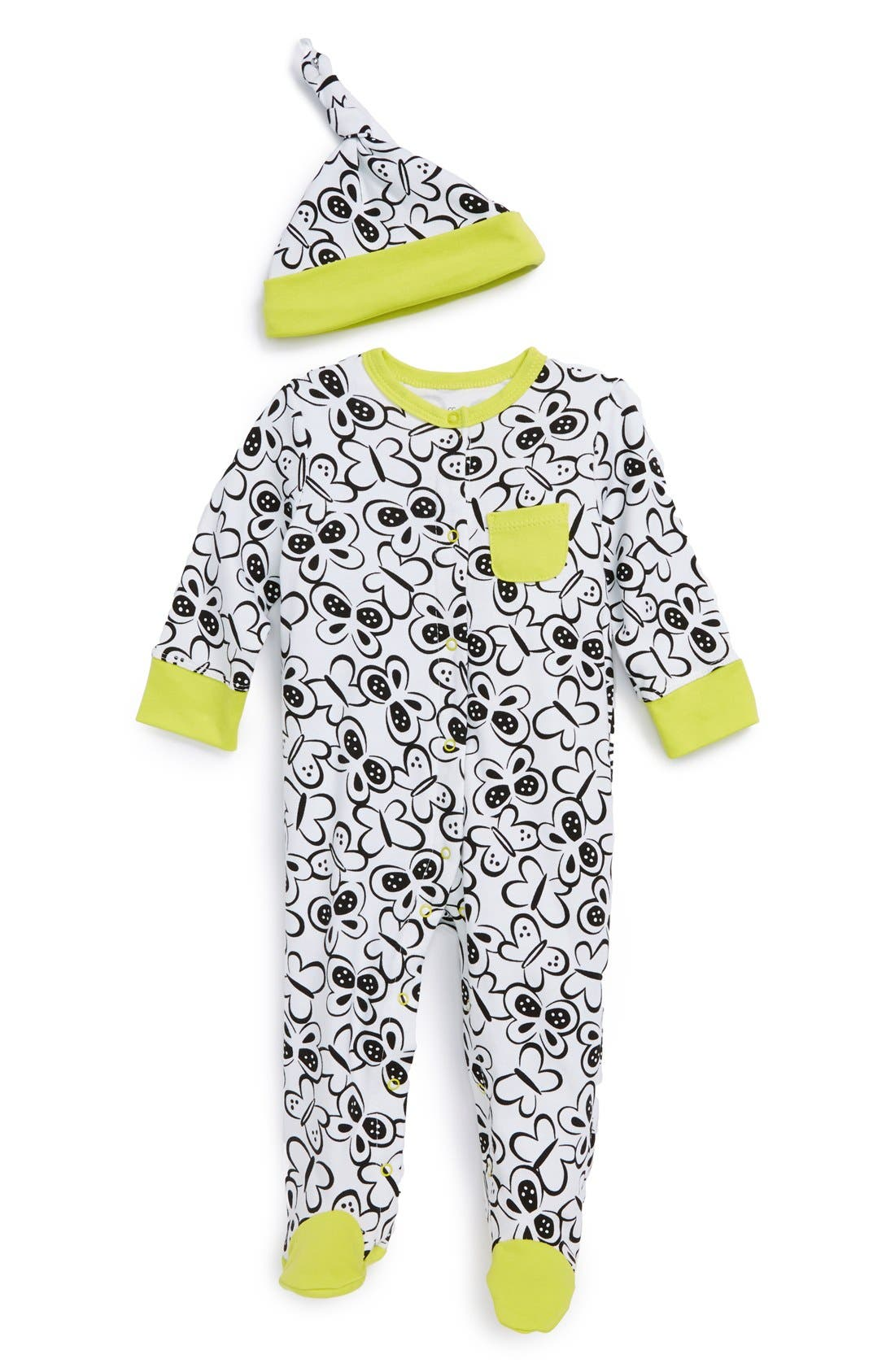 Main Image - Offspring 'Butterfly' One-Piece & Hat (Baby Girls)