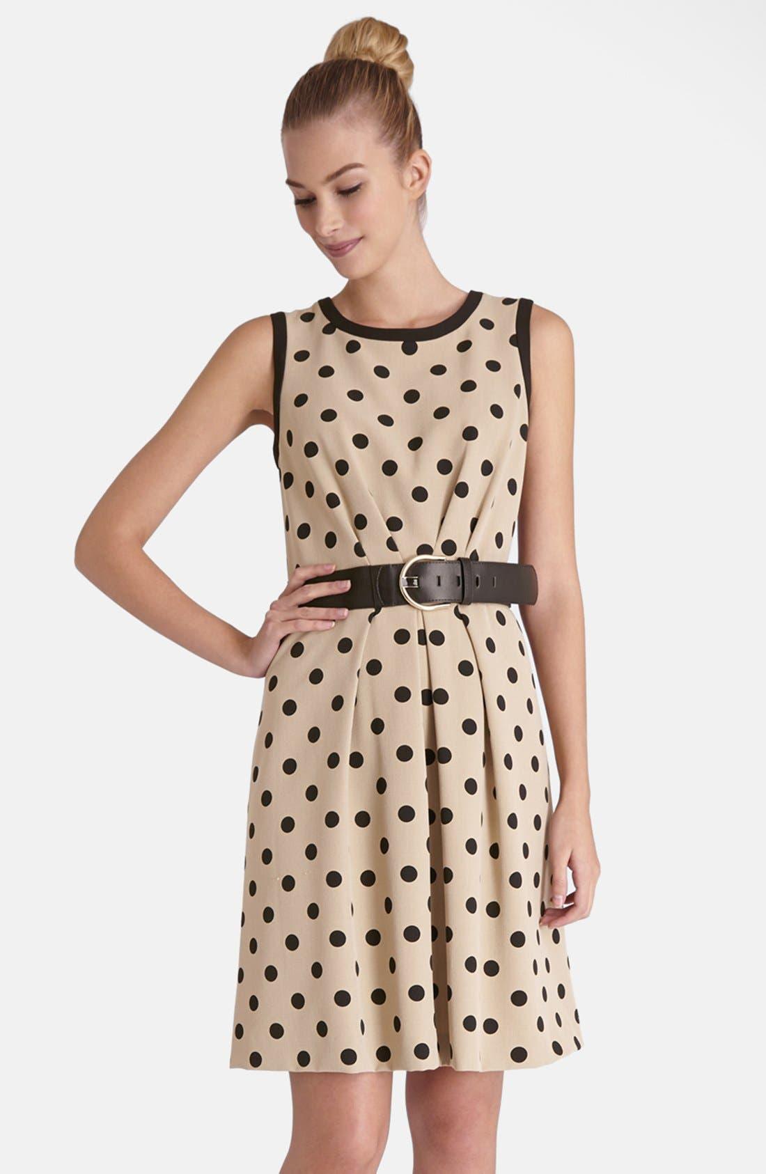 Main Image - Tahari Polka Dot Crepe Fit & Flare Dress (Regular & Petite)