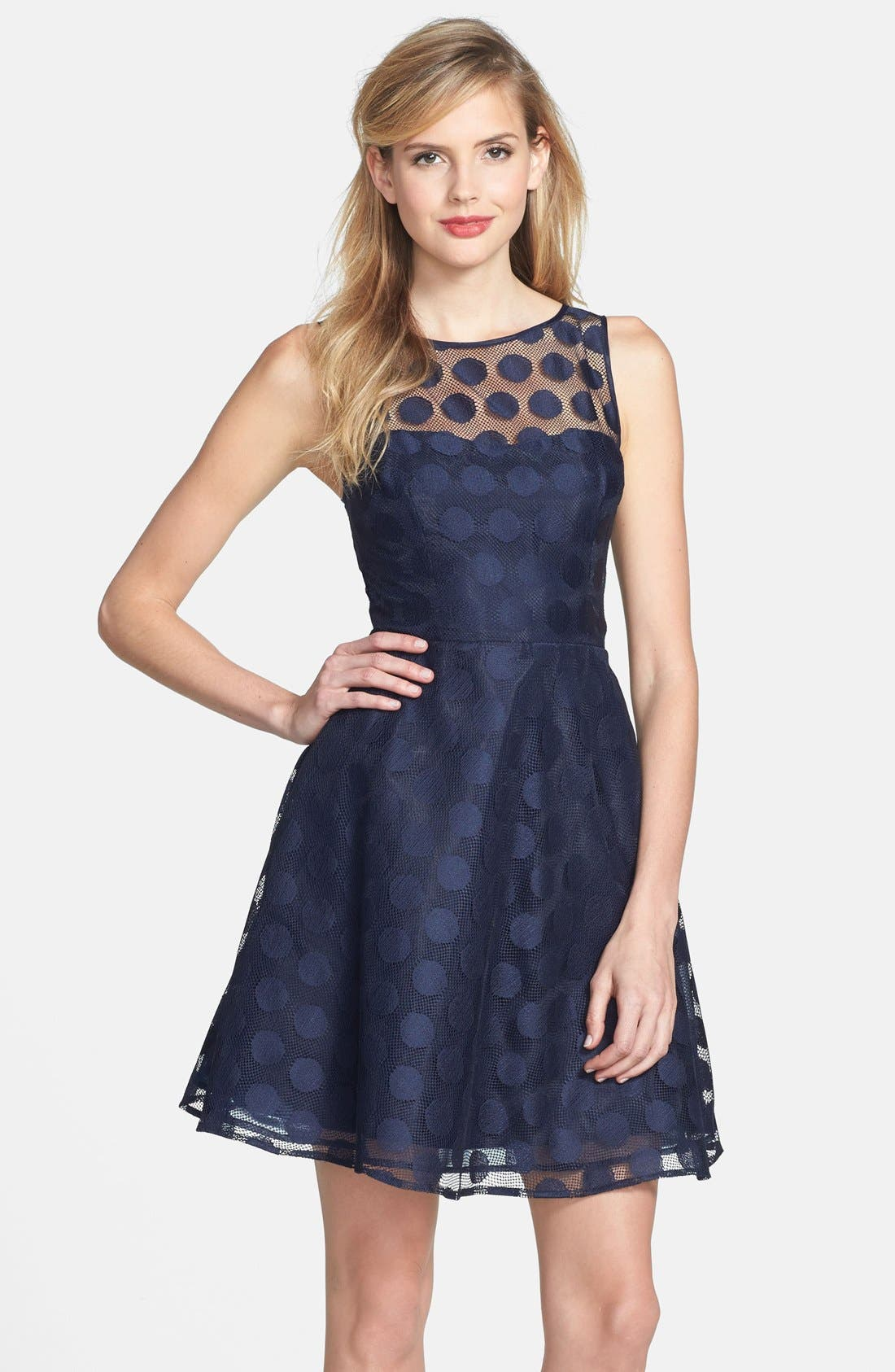 Main Image - Betsey Johnson 'Ivory' Polka Dot Mesh Fit & Flare Dress