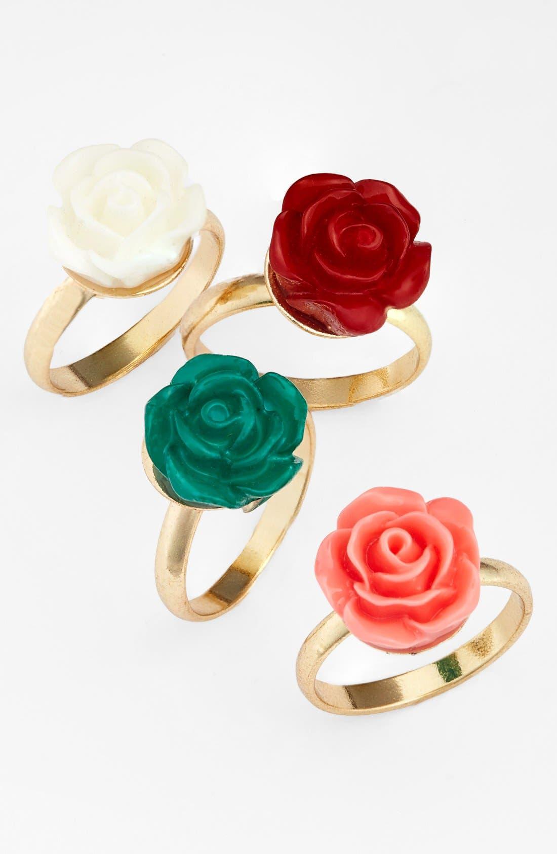 Main Image - Topshop Flower Midi Rings (Set of 4)