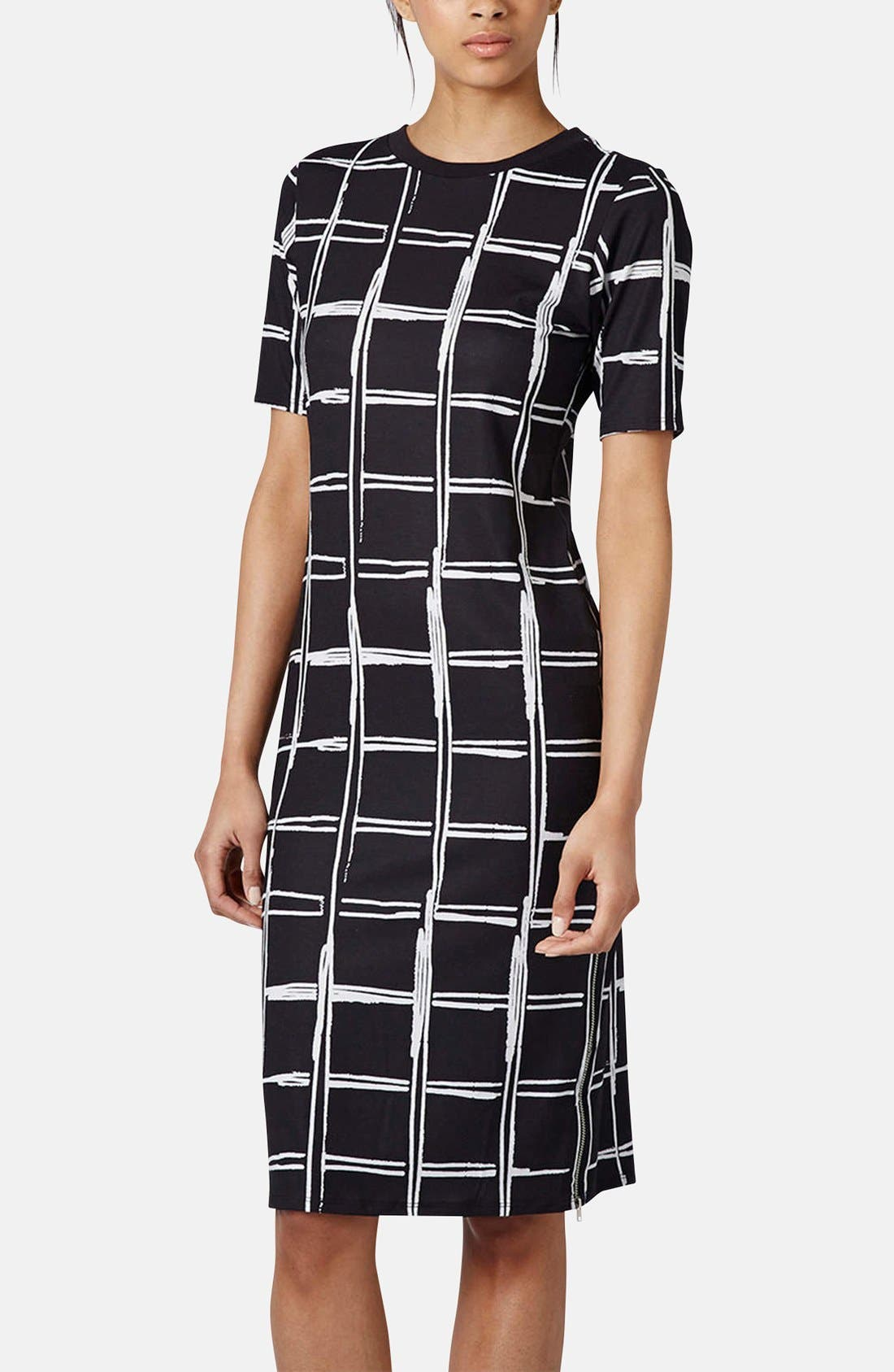 Alternate Image 1 Selected - Topshop Grid Pattern Midi Dress