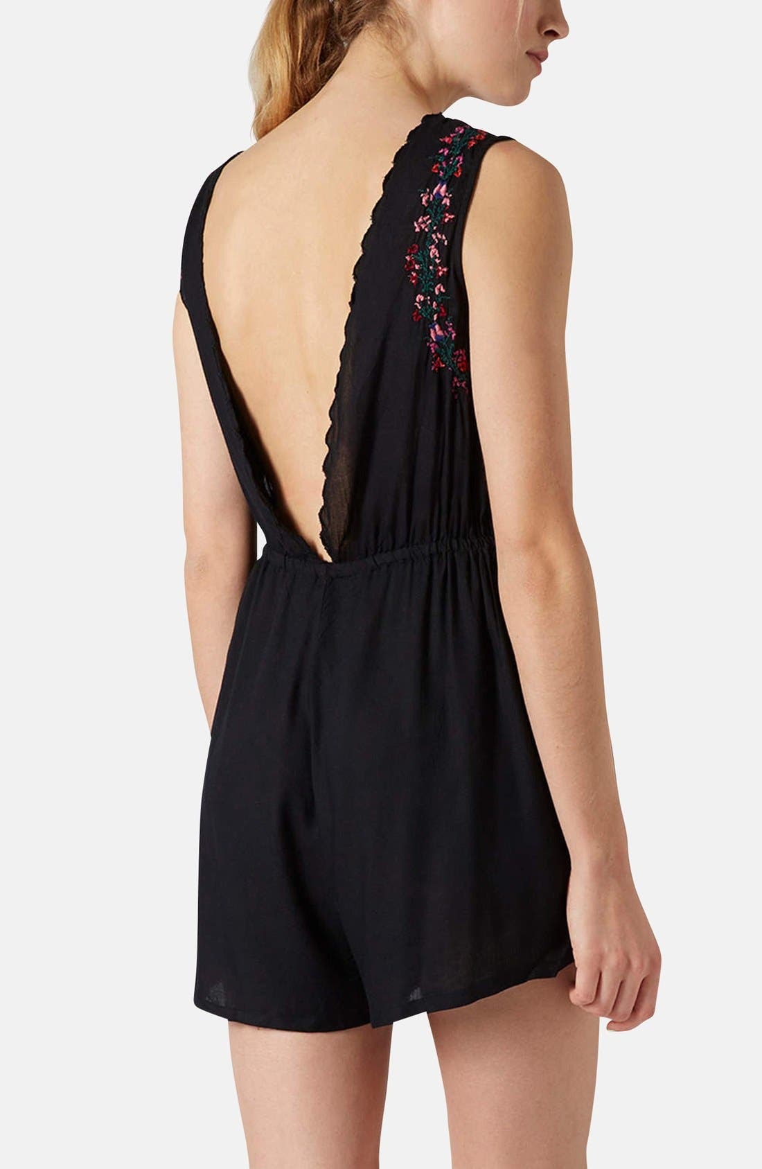 Alternate Image 2  - Topshop Lace-Up Front Embroidered Romper