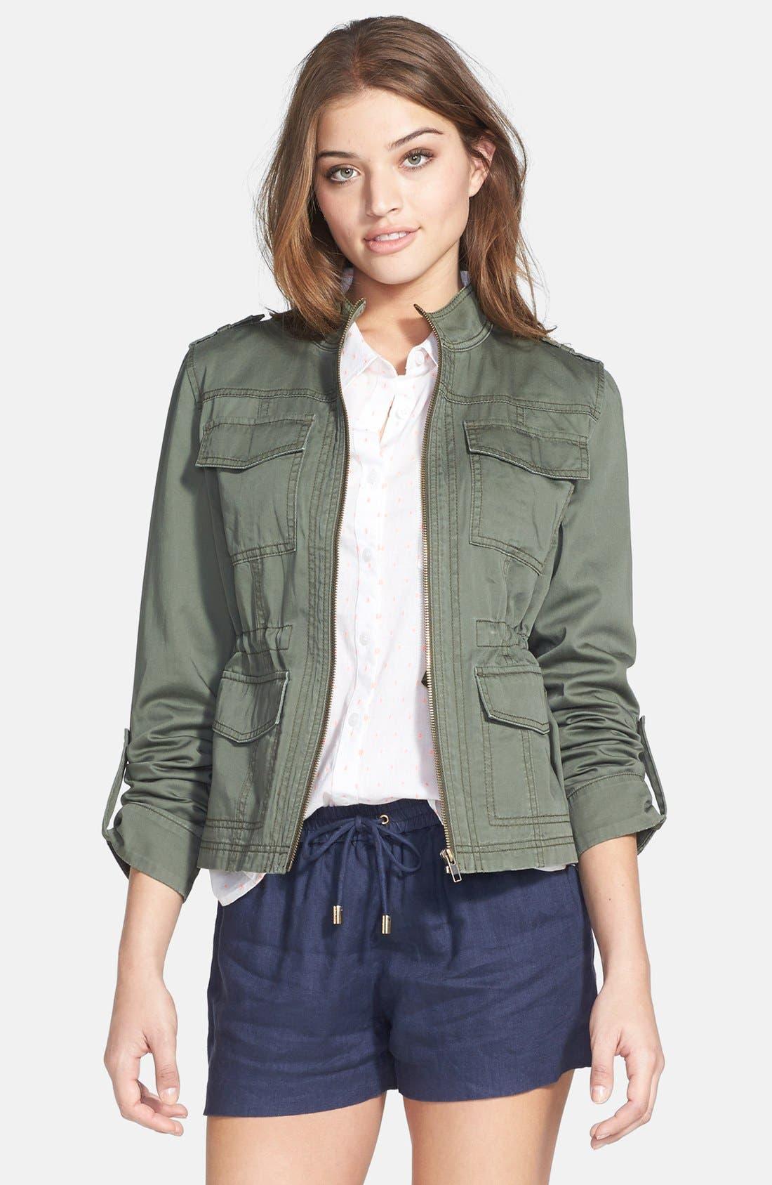 Main Image - Caslon Roll Sleeve Utility Jacket