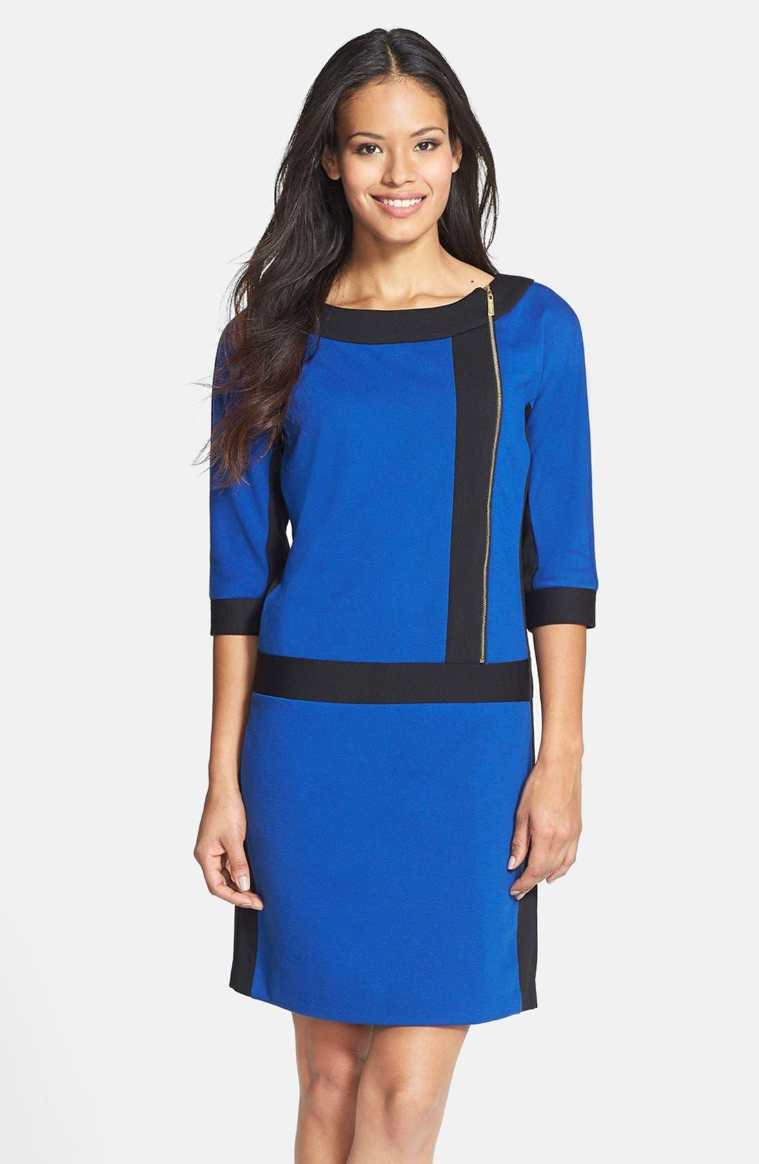 Main Image - Ellen Tracy Front Zip Colorblock Ponte Knit Shift Dress