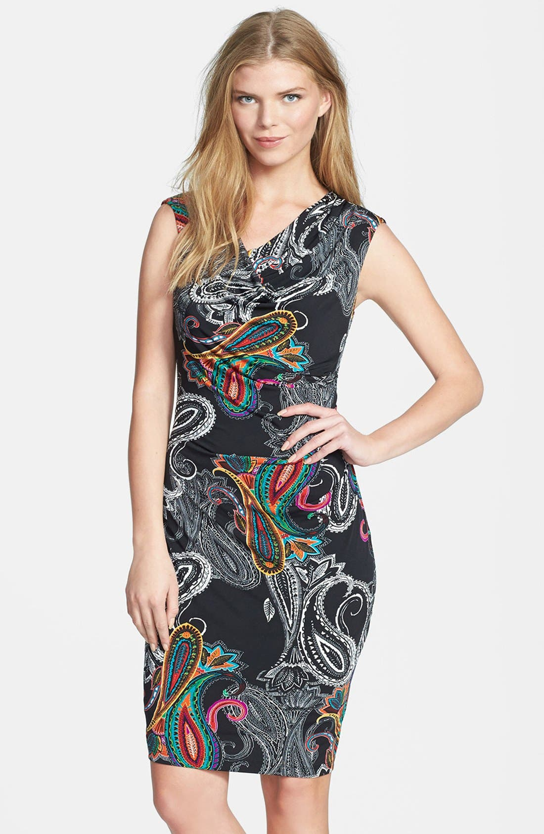 Alternate Image 1 Selected - Ellen Tracy Print Cowl Neck Jersey Sheath Dress