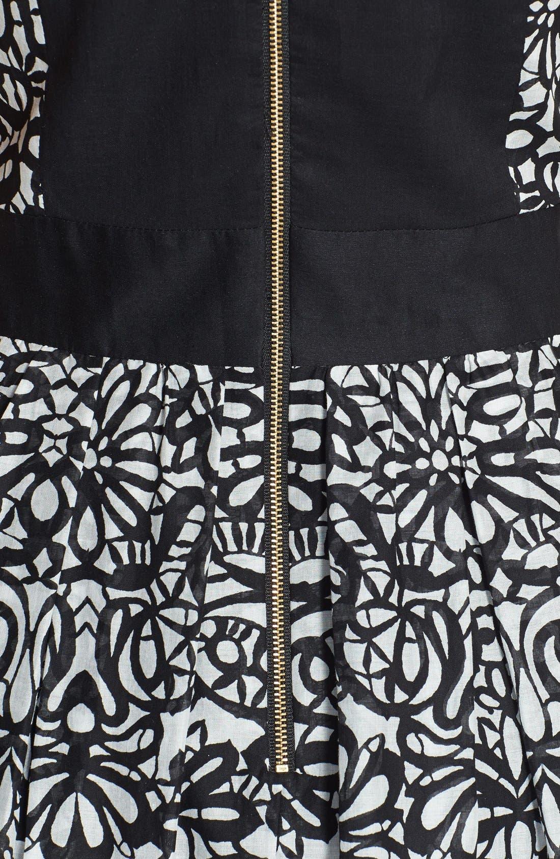 Alternate Image 4  - Taylor Dresses Print Cotton Voile Fit & Flare Dress