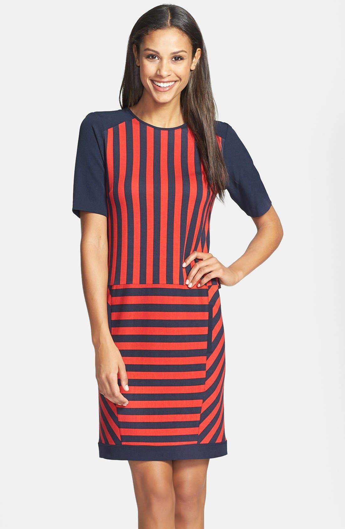 Main Image - GRID PRINT SWEATER DRESS