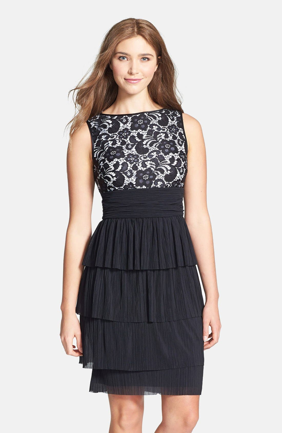 Main Image - Maggy London 'Plume' Lace Bodice Tiered Dress