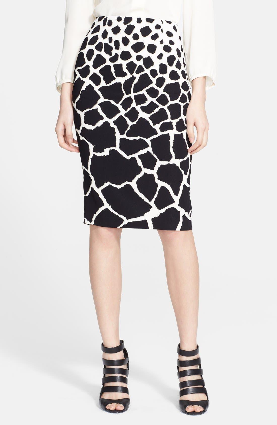 Main Image - Roberto Cavalli Animal Print Cady Pencil Skirt