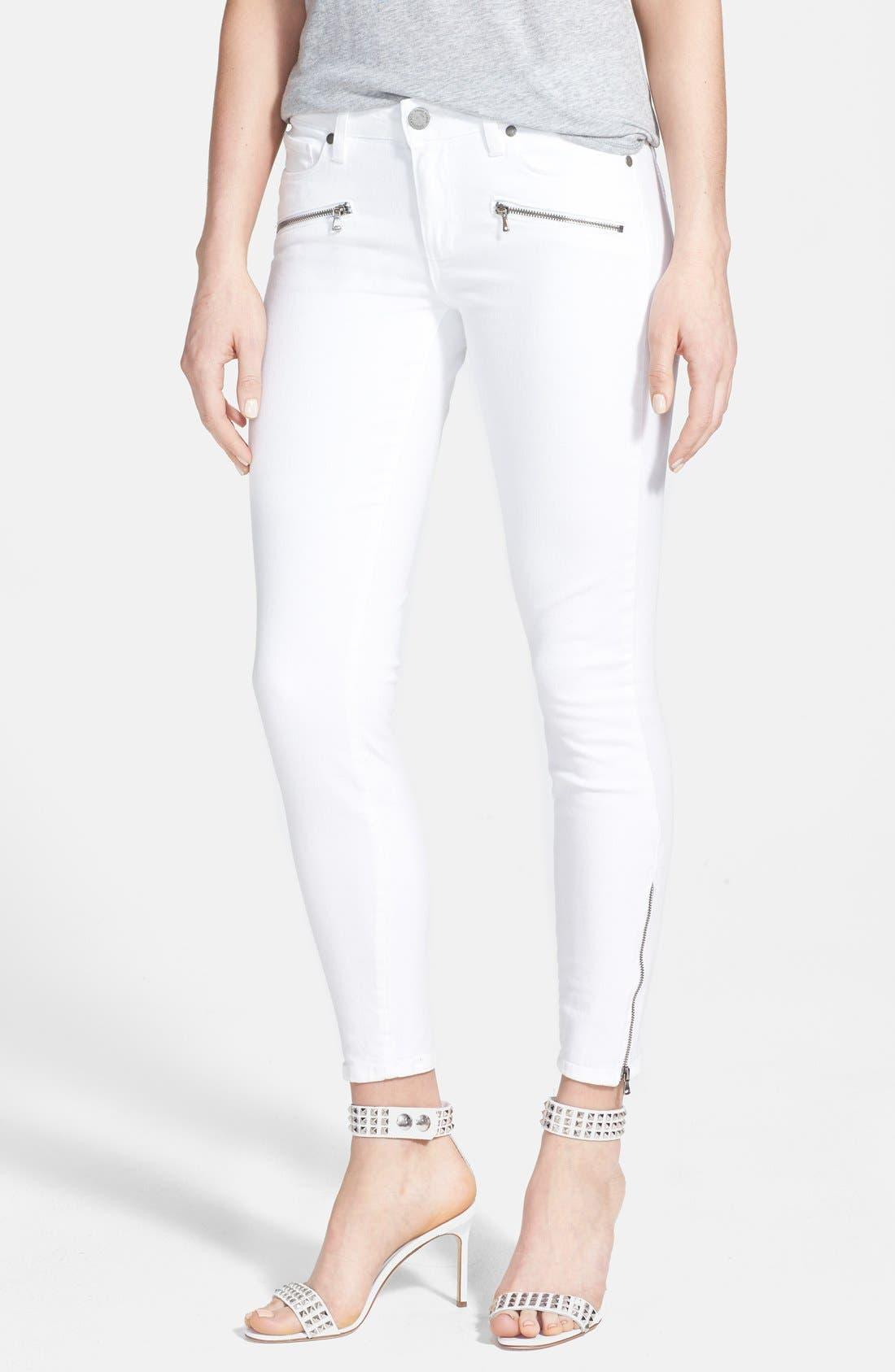 Main Image - Paige Denim 'Jane' Zip Detail Ultra Skinny Jeans (Optic White)