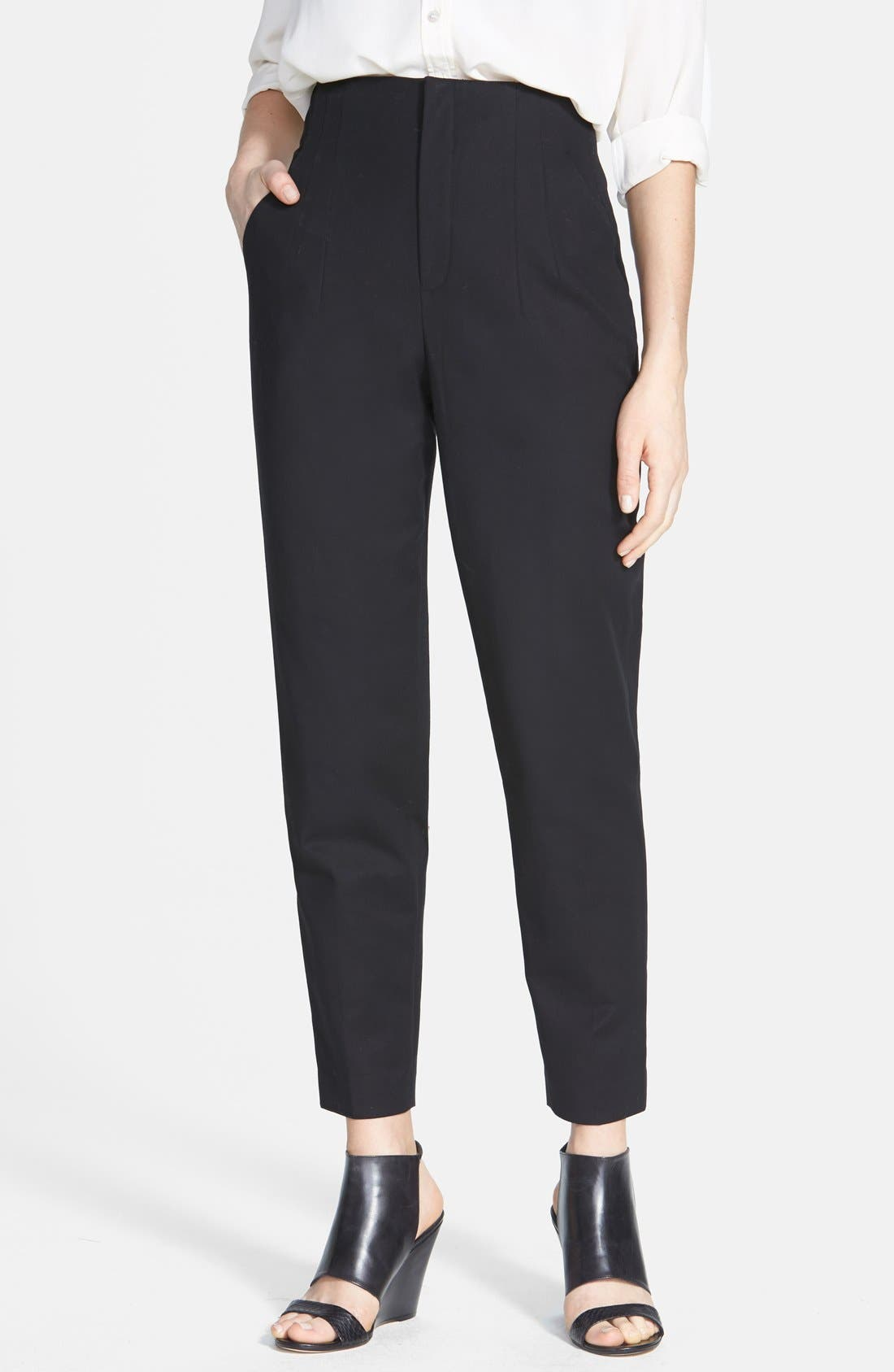 Main Image - Vince Camuto Crop Stretch Cotton High Waist Pants